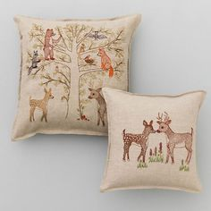 """SHOP ALL PILLOWS All the forest creatures love climbing trees! Removable embroidered cover on 100% natural linen fabric. Back fabric is 100% linen. Pillow insert is 90% small feather, 10% down. Measures 16"""" x 16"""". Please see our detailedcareinstructionsin ourFAQs."""