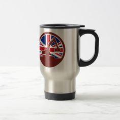 British Mechanical Digger Union Jack Flag Icon Travel Mug Custom Office Retirement #office #retirement