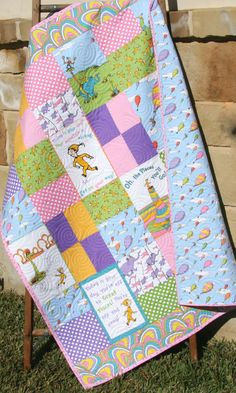 Oh the Places You'll Go Girl Quilt, Dr Seuss Blanket, Pink Crib Bedding, Bal. Oh the Places Yo Fabric Panel Quilts, Fabric Panels, Girls Quilts, Baby Quilts, Pink Crib Bedding, Dr Seuss Nursery, Vanz, Baby Fabric, Baby On The Way