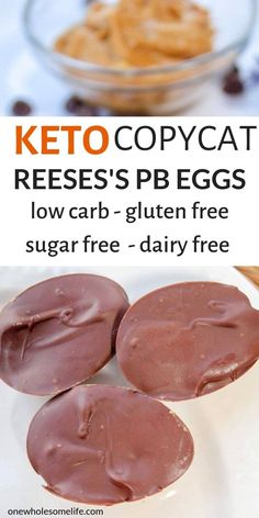 Homemade copycat recipe for Keto chocolate peanut butter eggs that are low carb, sugar free, and gluten free. Perfect Easter treat free Easter treats Keto Chocolate Peanut Butter Eggs - One Wholesome Life Keto Desserts, Keto Snacks, Dessert Recipes, Quick Keto Dessert, Recipes Dinner, Holiday Desserts, Stevia Desserts, Flourless Desserts, Keto Friendly Desserts
