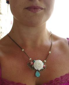 Victorian rose necklace https://www.etsy.com/listing/199917108/white-rose-romantic-victorian-floral