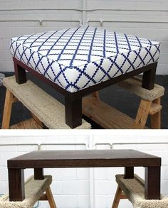 Ottoman DIY - Turn a cheap end table into a padded ottoman. Full Step-by-Step Tutorial.