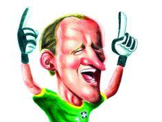 Dentre os grandes nomes do futebol desenhados pelo artista, estão o Rei Pelé, Ronaldo Fenômeno, Cafu, Taffarel, Sócrates, o técnico Telê Santana e muitos outros.
