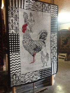 Rooster Black White Kitchen Rug For The Home 5x8 In Size Soft Plush *new*