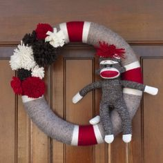 DIY sock monkey wreath