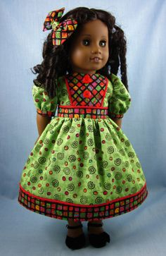 Dress and Hair Bow for 18 Inch Doll  Green by SewMyGoodnessShop, $24.00