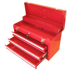 Featuring three drawers and a lift-top storage compartment, this latching steel toolbox offers ample storage.  Product: Tool box...