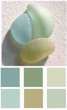 Beautiful colors to add to a beach house or coastal look home.  Add in lots of whites and light or bleached woods...