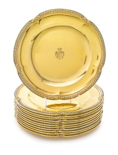 set of twelve French silver-gilt plates, André Aucoc, Paris, early 20th century