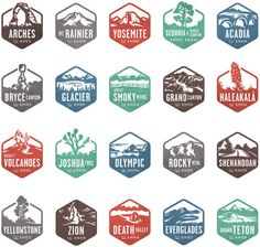 national park stamp icons