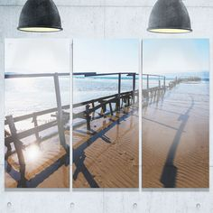 Designart - Wooden Boardwalk on Beach - Sea Bridge Glossy