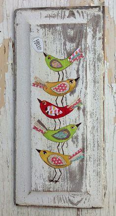 Hello Birds Original Painting Folk Art by on Etsy - Mixed media - Arte Pallet, Pallet Art, Tole Painting, Painting On Wood, Art Fantaisiste, Pintura Country, Arte Popular, Naive Art, Whimsical Art