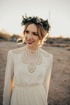 Vintage wedding dress + bohemian floral crown | Image by Teresa Jack Photography