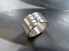 Autumn tree ring Sterling silver ring wide band ring by Mirma