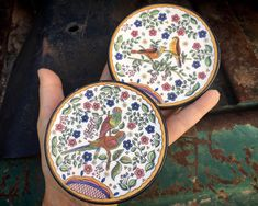 Two Handmade Spanish Miniature Wall Plates by Ceraplate, Blue and White Majolica Pottery