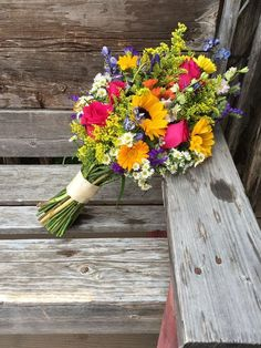 Wildflower vibrant country wedding bouquet with depth and texture. Wildflower vibrant country wedding bouquet with depth and texture. Roses, sunflowers, delphinium, s Country Wedding Bouquets, Diy Wedding Bouquet, Floral Wedding, Wedding Country, Prom Bouquet, Bride Bouquets, Wedding Dresses, Prom Flowers, Summer Flowers