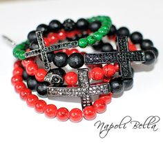 1 Black CROSS Bracelet with Crystals Beaded by NapoliBella on Etsy, $35.00