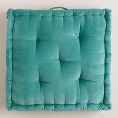 One of my favorite discoveries at WorldMarket.com: Aqua Velvet Floor Cushion