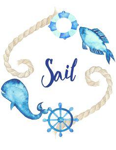 Nautical Quotes, Nautical Theme Decor, Whale Nursery, Nursery Decor Boy, Quote Prints, Wall Prints, Poster Prints, Nursery Drawings, Watercolor Whale