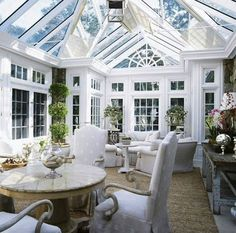 Closest thing we've found to a perfect conservatory. Like the traditional style that's substantial but still def a conservatory and quite different to anything that we have in the house. Dislike the black lines on the ceiling. Style At Home, Beautiful Space, Beautiful Homes, Orangerie Extension, Outdoor Rooms, Outdoor Living, Interior And Exterior, Interior Design, Room Interior