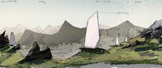 polish architect and visual artist bartosz domiczek has designed northern wisps - a cabin concept made to look like huge monoliths or nordic gods. 3d Studio, Deities, Geology, 3 D, Scene, Tapestry, Concept, Architecture, Cabins