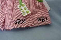 2 pairs Boys seersucker swim suit  Monogram by darceylanedesigns, $55.00