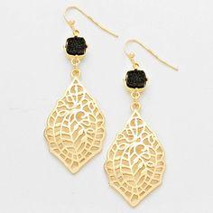 Druzy Agate Stone Gold Dangle Earrings – JaeBee Jewelry