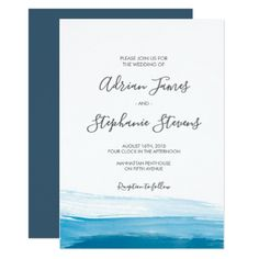 Elegant Blue Watercolor Wedding Invitation - invitations custom unique diy personalize occasions