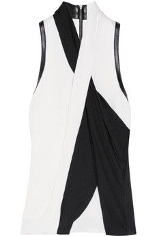Helmut Lang Draped leather-trimmed crepe top | NET-A-PORTER