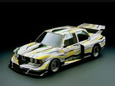 "1977 BMW Group 5 Race Version Car three by Roy Lichtenstein is one of the most popular of all the Art Cars; the BMW 320 Group The artist had this to say on the fruit of his labors: ""I… Roy Lichtenstein, Bmw 2002, Le Mans, Touring, Lamborghini, Ferrari, Tuning Bmw, Bmw E21, Automobile"