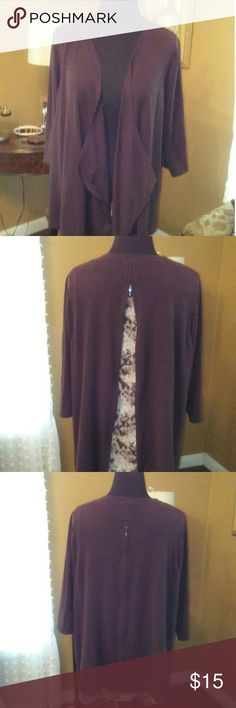 Caterines Cardigan Caterines Brown with leopard print lining, cardigan unzip in back to show leopard print lining.  60% cotton, 40% polyester. Wore this once, in excellent condition. Caterines  Sweaters Cardigans
