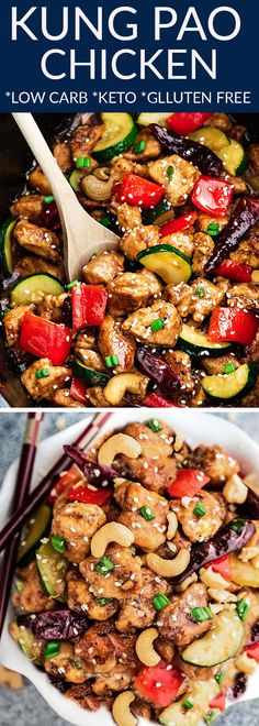 Low Carb Kung Pao Chicken Stir Fry – an easy ONE PAN stir fry for busy weeknights. Best of all, this popular takeout favorite is keto-friendly with the same classic sweet & spicy flavors as your local Chinese restaurant. #lowcarb #keto #kungpao #stirfry #asiantakeout #stirfry #onepan #chicken #kungpao