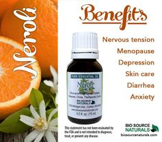 Neroli Essential Oil when inhaled helps ease symptoms of depression and when used at night it helps ease insomnia.  #aromatherapy