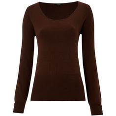 Linea Crew Neck Long Sleeve Jumper ($30) ❤ liked on Polyvore featuring tops, sweaters, shirts, long sleeves, blusas, women, long sleeve tops, long-sleeve shirt, brown sweater and viscose shirts