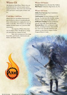 A non-setting specific Arctic. Dungeons And Dragons Races, Dungeons And Dragons Classes, Dungeons And Dragons Homebrew, Dnd 5e Races, D D Races, Mythological Creatures, Fantasy Creatures, Mythical Creatures, Folklore Game