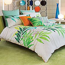 image of KAS® Lima Reversible Duvet Cover in Lime