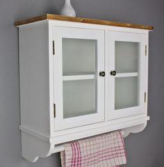 Wandschrank mit Glastüren Wandregal weiß Holz shabby Landhaus Regal Wandablage