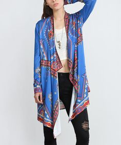 Look at this Blue Geometric Open Cardigan on #zulily today!