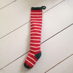 Handknit Christmas Stocking Red Fairytale Stripes by TheSwellCompany on Etsy https://www.etsy.com/listing/114907929/handknit-christmas-stocking-red