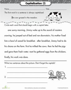 This is a photo of Hilaire Free Printable Capitalization Worksheets