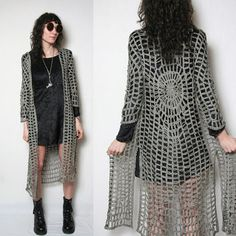 Vintage Crochet Bohemian Shawl with Fringe // Hippie Crochet Knit Duster Long Vest // Woven Long Vest // Boho Crochet Duster