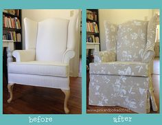Pink and Polka Dot: Wing Chair Slipcover Before and After