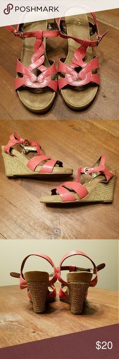Coral Wedges by AEROSOLES A2 braided leather, coral and rattan wedges by AEROSOLES - These are so comfortable, especially for 4 inch heels. The shoe features just under an inch platform, making these very wearable. Great for Summer and Spring! Gently used. AEROSOLES Shoes Wedges