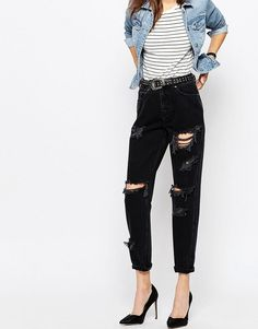 ASOS+Original+Mom+Jeans+in+Washed+Black+with+Rips+and+Busts
