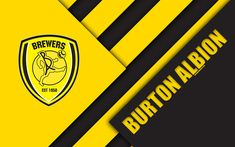 Download wallpapers Burton Albion FC, logo, 4k, yellow black abstraction, material design, English football club, Burton-upon-Trent, England, UK, football, EFL Championship