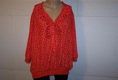 VICKI WAYNE Shirt Blouse Plus Size 20W Polka Dots Ruffled Tie Front Womens #VickiWayne #Blouse #Career