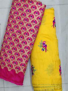Jute gorgtte sarees with Embroidery work | Elegant Fashion Wear