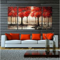 interior decorating with maple leaves and red home accents, dark gray living room with bright red accents, pantone cherry tomato Living Room Red, Living Room Accents, Home Accents, Red Accents, Black And Red Living Room, Red Curtains Living Room, Interior Design Living Room, Interior Decorating, Decorating Ideas