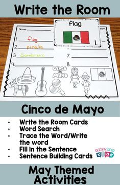 Cinco de Mayo write the room activities. This set includes 3 different response sheets and sentence building cards as well.