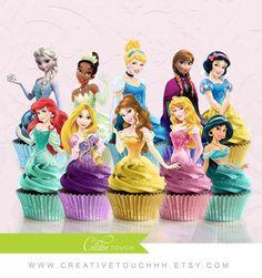 Princess Cupcake Toppers, Cinderella, Belle, Aurora, Elsa, Anna, Snow White, Jasmine, Tina, Rapunzel, Ariel, Disney Princess, Birthday Party